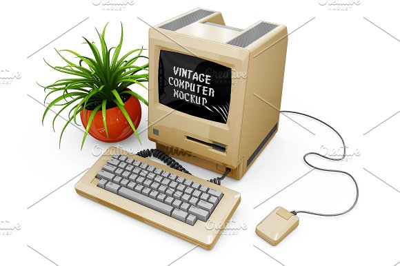 Vintage Computer Mockup in Mobile & Web Mockups - product preview 14