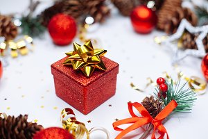 Christmas card: red gift box and Chr