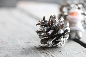fir cones and Santa Claus, Christmas