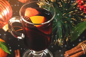 Hot winter Christmas drink mulled