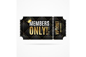 Vip Ticket Members Only. Vector