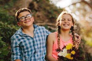 Portrait of happy kids in love