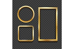 Realistic 3d Detailed Golden Frame