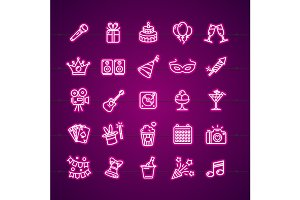 Party Signs Neon Thin Line Icon Set.