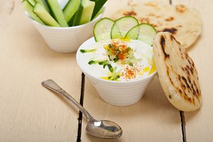 Khyar Bi Laban Arab cucumber goat yogurt salad 001.jpg
