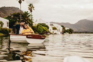 Couple sitting together in a boat
