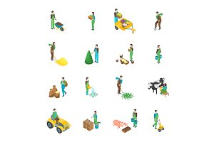 Farmers at Work 3d Set Isometric