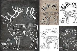Elk Butcher Cuts Set 1