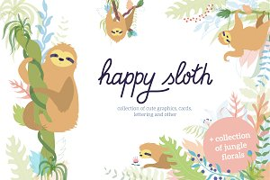 Happy Sloth - clipart collection