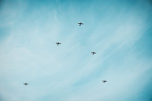 Jet aircrafts aerobatic group at blu