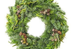 Christmas wreath fir pine spruce whi