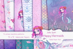 Mermaid Patterns /Digital Paper Pack