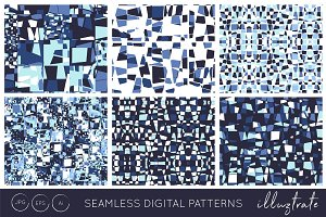 Deep Blue Digital Vector Patterns