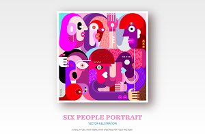 Portrait of Six People vector art