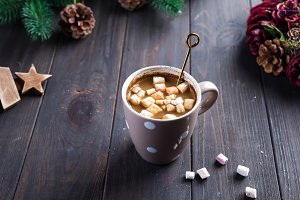 Hot cappuccino with marshmallows in