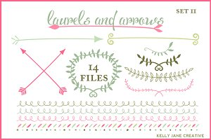 Wreaths Arrows & Laurels Vector