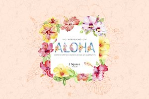 ALOHA Watercolor Hibiscus Design Set