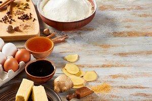 Ingredients of gingerbread recipe on