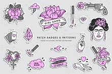 Girl PWR. Badges and patterns by  in Icons
