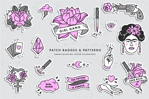 Girl PWR. Badges and patterns