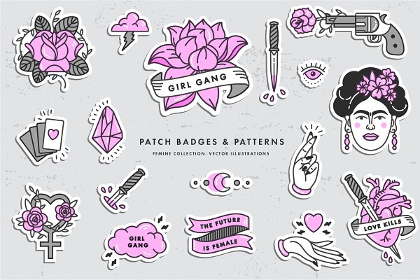 Icons - Girl PWR. Badges and patterns