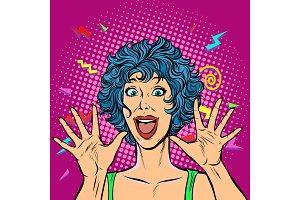joyful woman, Girls 80s. Surprised