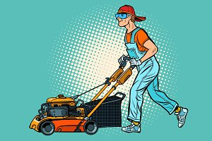 lawn mower worker. Profession and