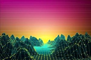 Retro Futuristic background 80s