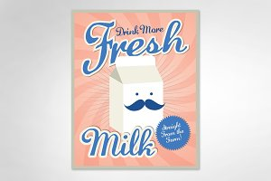 vintage milk template vector