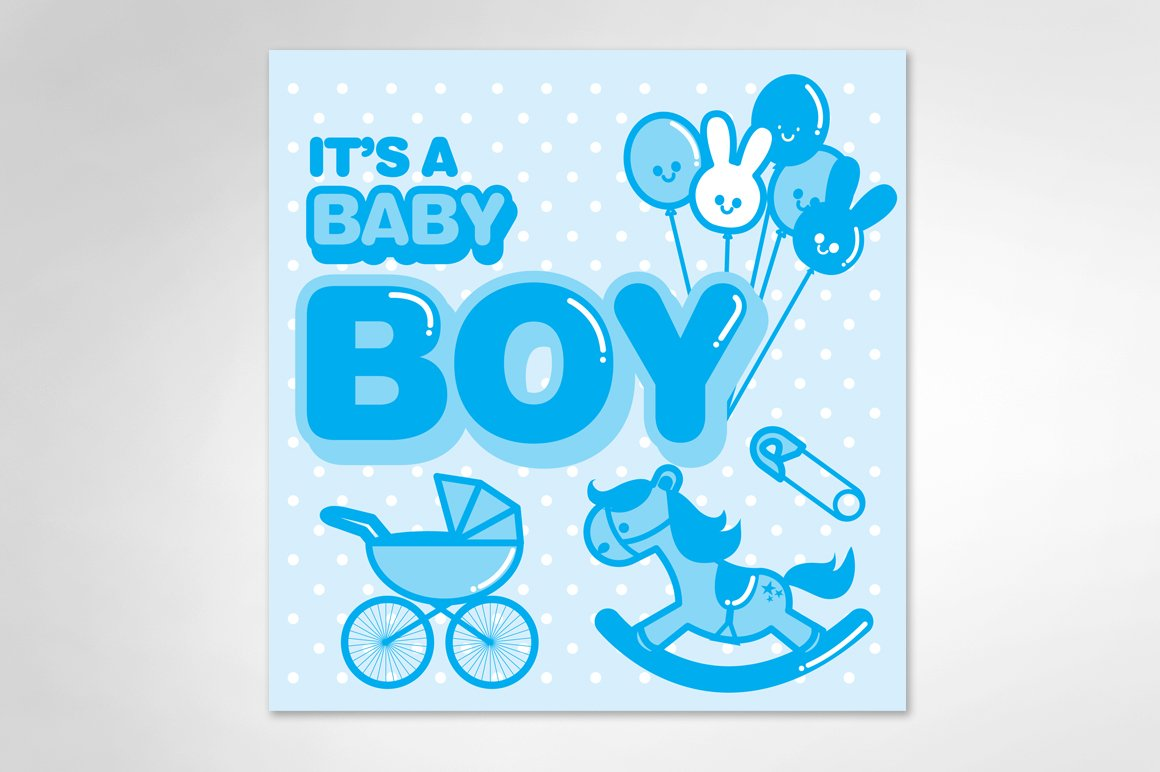 baby announcement boy template illustrations creative market