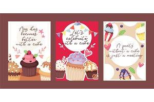 Cupcake poster design bakery cake