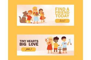 Children with pets friendship banner