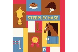 Jokey banner about steeplechase