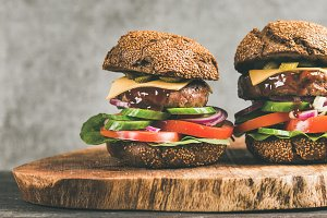 Beef meat cheeseburgers with