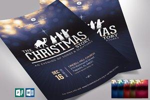 Blue Christmas Story Flyer Word Pub