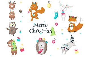 Christmas animals cards and patterns