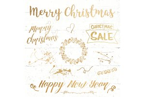 Gold Christmas lettering overlay