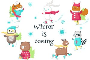 Ice Skating animals clipart set