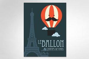 hot air balloon/ paris vector