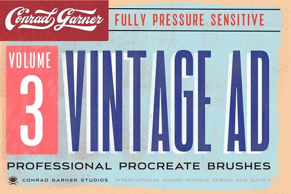 Add-Ons: Conrad Garner Studios - 81 VINTAGE AD Brushes - Procreate