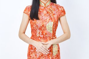 Woman in chinese dress new year 2019
