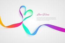 Love wins vector ribbon