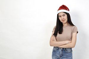 young christmas woman wearing a sant