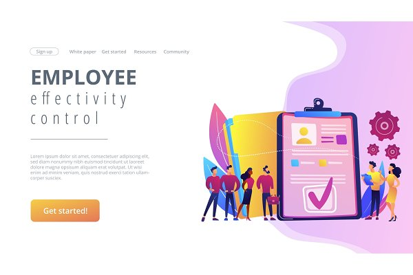 HR software concept landing page.