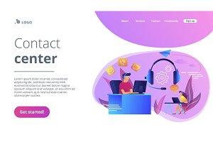 Contact center concept landing page.