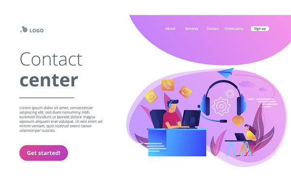 Contact center concept landing page…