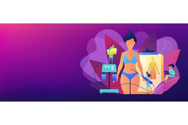 Liposuction concept banner header.