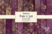 Distressed Purple and Gold Textures