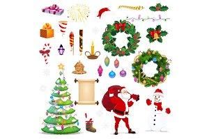 Christmas winter holiday icons