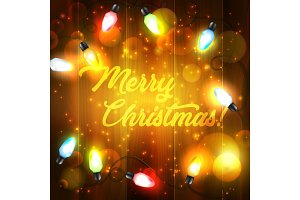 Christmas lights, wooden background